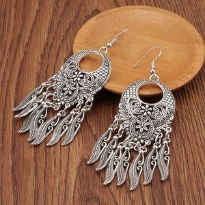 New Silver Boho Dream Catcher Fishhook Earrings
